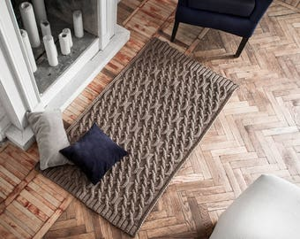 Perfect Big Knitted Rug, Rug With Arans (63 х 39 In), Floor Decor