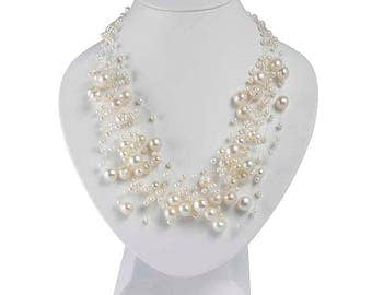 Floating Pearl Necklace - Multi-strand Illusion Necklace - Freshwater Pearl - wedding - Hepburn 14-Strand Necklace
