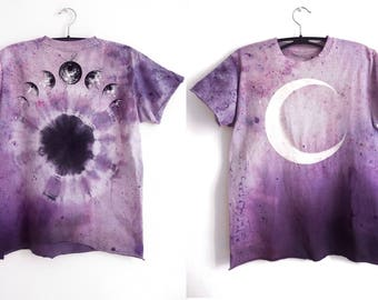 amethyst cultist : moon phase shirt. purple pastel tie dye. OOAK. hand dyed & hand painted.