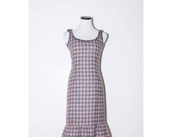 MOSCHINO Pink & Grey Plaid Tweed Dress
