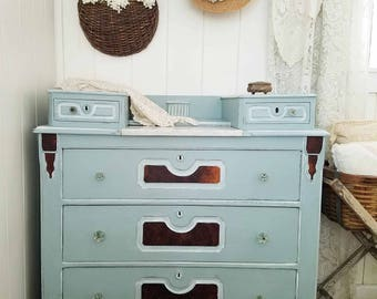 Antique Chest of Drawers Dresser with Marble Inlay ~ Farmhouse, Cottage, Shabby Chic Style