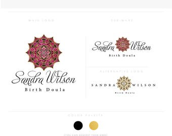 mandala 2 script flower golden healthcare logo Douala Initials moms care wedding boutique feminine elegant fashion business cards banner