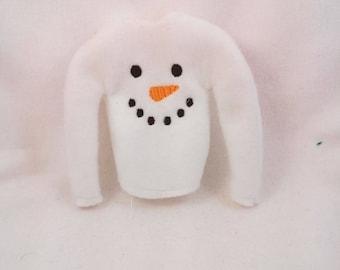 Elf Snowman Shirt - Doll Accessory - Holiday Snow Man Shirt - Elf Accessory - Christmas Decor - Holiday Elf Prop - Shelf Doll Props