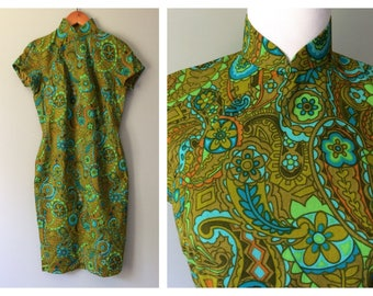 Vintage 1960's Mandarin Collar Dress Green & Blue Paisley Asian Wiggle Dress Mod Retro Sexy Cotton Short Sleeve Cheongsam Oriental Size 6 8