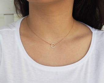 Rose Gold Necklace, Rose Gold Circle Necklace, Sterling Silver Circle Necklace, Gold Circle Necklace