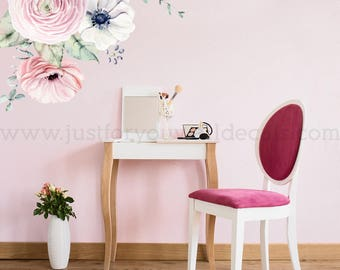 Flower Wall Decal, Floral Wall Decal, Watercolor Wall Decals, Flower Wall Stickers, Watercolor Flower Wall Decal, Nursery Wall Decal 04-0001