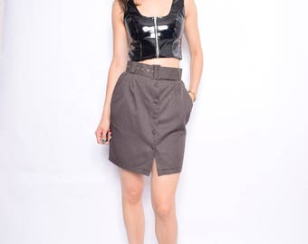 Vintage 90's Brown Button Mini Skirt / High Waist Belted Mini Skirt - Size Small