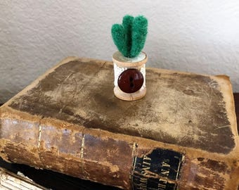 Mini needle felted succulent in thimble