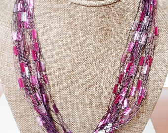 Trellis Scarf Necklace in Shades of Pink and Fuchsia (SKU 119)