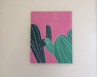 Large acrylic cactus painting on canvas, canvas art, wall art, succulent painting, green, pink and white dots, bohemian art