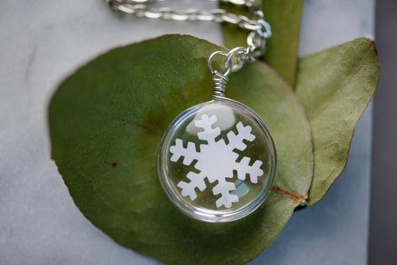 Double Sided White Snowflake Necklace - Free Shipping - Handmade Winter Wonderland Necklace