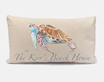 Custom Sea Turtle Pillow, Beach Decor Pillow, Sea Life Pillow, Personalized Lumbar Pillow, Ocean Pillow, Beach Housewarming Gift for Her