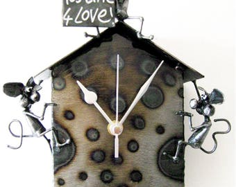 """Mouse Pendulum Clock with mice blowing kisses reminding you that """"Its Time For Love!"""""""