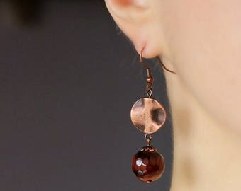 Brown Agate Copper Earrings Dangle Copper Earrings Copper Beaded Earrings Copper Charm Earrings Unique Copper Jewelry Everyday Earrings Gift