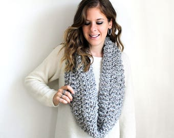 Chunky Knit Scarves Cowl Grey Marble- Bowie Cowl
