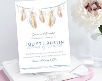 Boho Feathers, Wedding Invitation