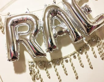 "Party Garland with Three 14"" Letter Balloons pg21"