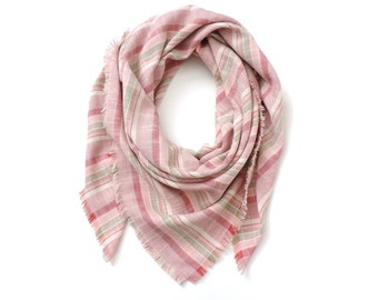 "Square Scarf Stripe Pink 42"""