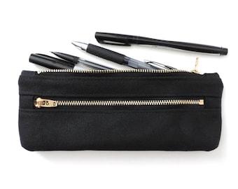 Waxed Canvas Pencil Case Double Zipper Pencil Pouch Black Back to School Supplies