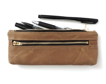 Waxed Canvas Pencil Case Double Zipper Pencil Pouch Tan