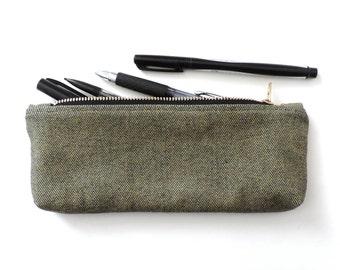 Denim Pencil Case Zipper Pencil Pouch Navy Tan