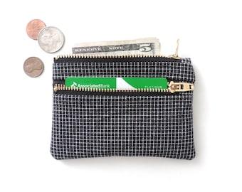 Slim Zip Wallet Pouch Double Zipper Coin Purse Black Grid