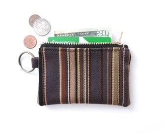 Keychain Coin Purse Slim Wallet Zipper Pouch Wool Stripe