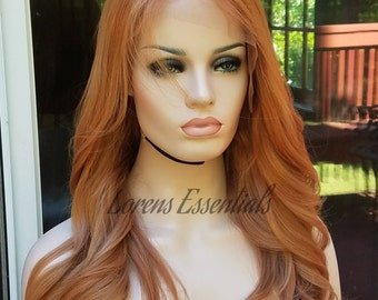 "Strawberry Blonde Red Hair - European Human Hair Rooted Blonde Wig 18"" JULIA"