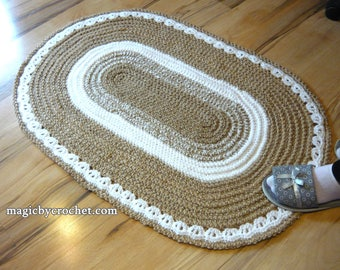 Oval Rug, Braided rug, Jute Rug, 2x3 ft Rug, Crochet Rug , Doily rug, Handmade rug, no.008