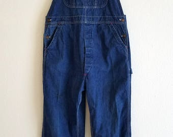 Big Mac Overalls Workers Denim Penney Union Made Sanforized Square Back Button Fly 1960s