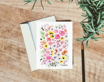 Sunflower Watercolor Florals - single folded card