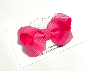 Hot Pink 3 inch boutique hair bow -girls hair bows - toddler hair bows - 3 inch bows - 3 inch hair bows - girl bow - baby hair bow