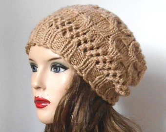 Beautiful and Soft Hat in Beige. Hand Knit Hat. Winter Women Hat. Slouchy Hat. Oversized Beret.
