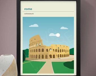 Rome - Colosseum Poster, Art Print, City Poster, Travel Poster, Travel Print