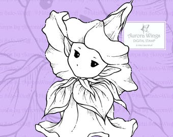 PNG Digital Stamp - Whimsical Morning Glory Sprite - Instant Download - digistamp - Fantasy Line Art for Cards & Crafts by Mitzi Sato-Wiuff