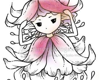 Digital Stamp Instant Download - Fuchsia Sprite - digistamp - Fuschia Fairy - Fantasy Line Art for Cards & Crafts by Mitzi Sato-Wiuff