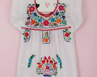 3-6 Months-Colorful Baby Handmade Mexican Dress-White-Hand Embroidered-Cake Smash-Photoshoot Outfit-Wedding-Sister-Festival-Birthday Gift