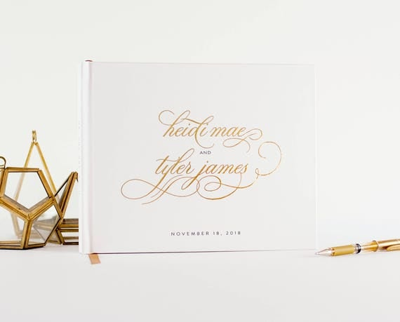 Gold Foil Wedding Guest Book wedding guestbook landscape horizontal gold foil wedding book sign in book personalized names photo guest book