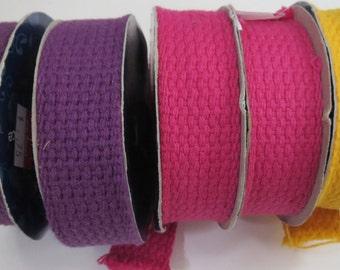 "Cotton Webbing Trim, Yellow Trim, Pink Trim, Purple Trim, 5 Yards, 1"" Webbing, 5 Rolls Of Trim, Q5"