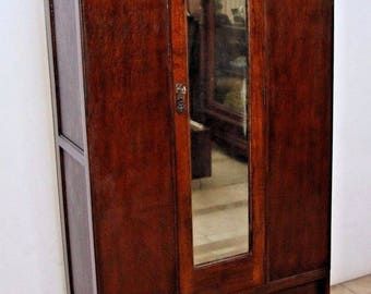 Vintage Locking Door Tiger Oak Mission style Wardrobe Closet Mirror drawer Safe Nationwide shipping Available