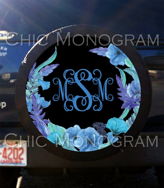 Tire Cover Blooming Blue Flowers Spare Tire Cover Custom Tire Cover Monogrammed Tire Cover Jeep Wrangler Accessories Jeep Tire Cover
