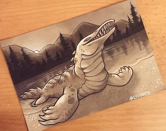 Cryptid Inktober 2017 Illustration - Bear Lake Monster