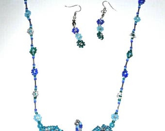 Blue butterfly necklace and earring set