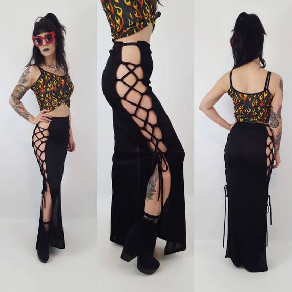 Black Lace Up Tie Sides Black Maxi Skirt Small - High Waist Club Goth Rave Sexy Side Slits Skirt - Sporty Long Black Lace Up 80's/90's Skirt