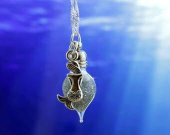 Sterling Silver Mermaid Necklace, Mermaid Jewelry, Mermaid Seashell, Teen Jewelry, Terrarium Necklace, Mermaid Tail, Free Shipping
