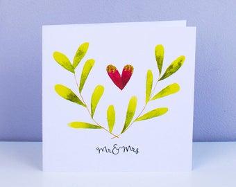 Mr & Mrs – Square Wedding celebration card