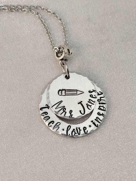 Teach Love Inspire - Customized Teacher Necklace - Personalized Teacher Gift - Christmas Gift for Teacher - Education Graduate Gift - School