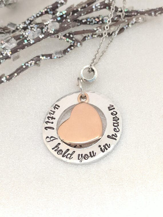 Until I Hold You In Heaven-Rose Gold Heart Urn-Ash Necklace-Cremation Necklace-Memorial Keepsake-Urn Jewelry-Necklace for Ashes-Sympathy Urn