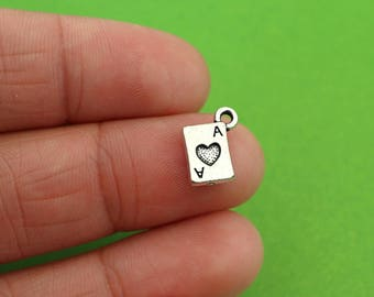 10 Tiny Ace of Hearts Card Charms CH037-10