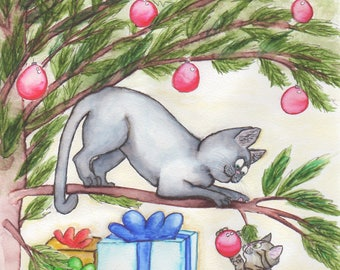 Christmas Cat and Kitten Playing with Ornament in Tree Downloadable JPEG File